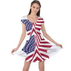 A Star With An American Flag Pattern Cap Sleeve Dresses