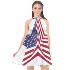 A Star With An American Flag Pattern Halter Neckline Chiffon Dress  by Nexatart