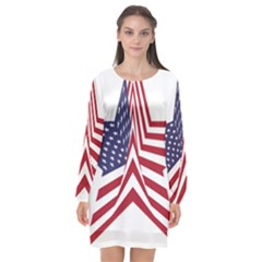 A Star With An American Flag Pattern Long Sleeve Chiffon Shift Dress  by Nexatart
