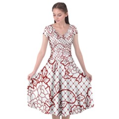 Transparent Decorative Lace With Roses Cap Sleeve Wrap Front Dress by Nexatart