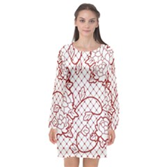 Transparent Decorative Lace With Roses Long Sleeve Chiffon Shift Dress
