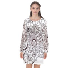 Henna Line Art Clipart Long Sleeve Chiffon Shift Dress