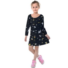 Space Pattern Kids  Long Sleeve Velvet Dress by ValentinaDesign