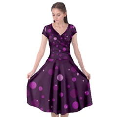 Decorative Dots Pattern Cap Sleeve Wrap Front Dress