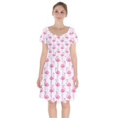 Pink Flamingos Pattern Short Sleeve Bardot Dress by Nexatart