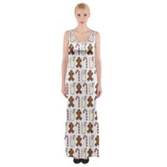Christmas Trio Pattern Maxi Thigh Split Dress