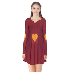Heart Red Yellow Love Card Design Flare Dress