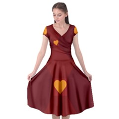 Heart Red Yellow Love Card Design Cap Sleeve Wrap Front Dress by Nexatart