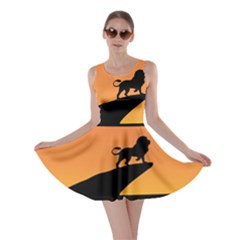 Lion Sunset Wildlife Animals King Skater Dress by Nexatart