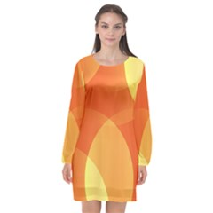 Abstract Orange Yellow Red Color Long Sleeve Chiffon Shift Dress