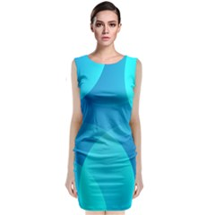 Abstract Blue Wallpaper Wave Classic Sleeveless Midi Dress by Nexatart