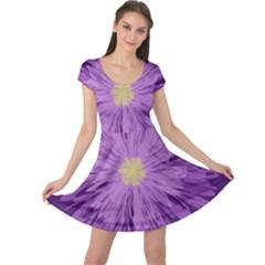 Purple Flower Floral Purple Flowers Cap Sleeve Dresses by Nexatart
