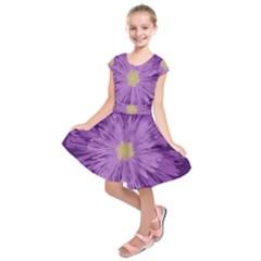 Purple Flower Floral Purple Flowers Kids  Short Sleeve Dress