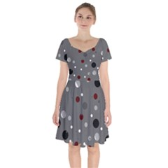 Decorative Dots Pattern Short Sleeve Bardot Dress by ValentinaDesign