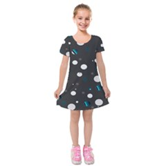 Decorative Dots Pattern Kids  Short Sleeve Velvet Dress by ValentinaDesign