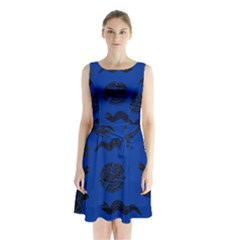 Aztecs Pattern Sleeveless Waist Tie Chiffon Dress by ValentinaDesign