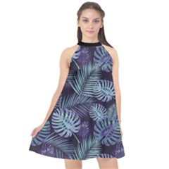 Leaves-monstera Halter Neckline Chiffon Dress  by Contest2284792