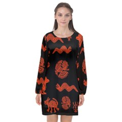 Aztecs Pattern Long Sleeve Chiffon Shift Dress  by ValentinaDesign