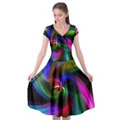Abstract Art Color Design Lines Cap Sleeve Wrap Front Dress