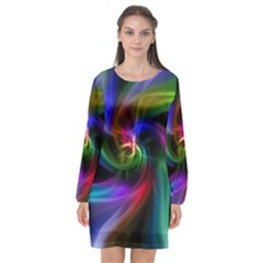 Abstract Art Color Design Lines Long Sleeve Chiffon Shift Dress