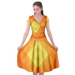 Pattern Retired Background Orange Cap Sleeve Wrap Front Dress by Nexatart