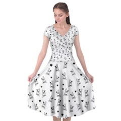 French Bulldog Cap Sleeve Wrap Front Dress