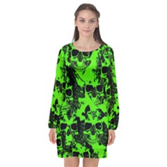 Cloudy Skulls Black Green Long Sleeve Chiffon Shift Dress  by MoreColorsinLife