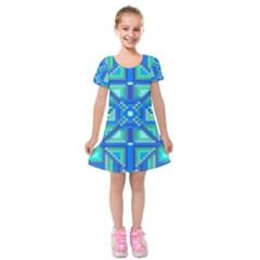 Grid Geometric Pattern Colorful Kids  Short Sleeve Velvet Dress by Nexatart
