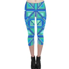 Grid Geometric Pattern Colorful Capri Leggings