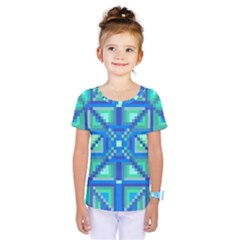 Grid Geometric Pattern Colorful Kids  One Piece Tee