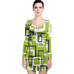 Pattern Abstract Form Four Corner Long Sleeve Bodycon Dress