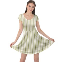 Pattern Background Green Lines Cap Sleeve Dresses