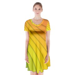 Abstract Pattern Lines Wave Short Sleeve V Neck Flare Dress by Nexatart