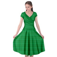 Pattern Green Background Lines Cap Sleeve Wrap Front Dress by Nexatart