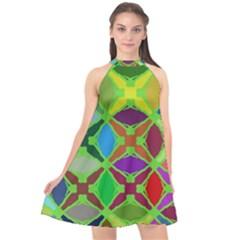 Abstract Pattern Background Design Halter Neckline Chiffon Dress