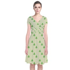 Christmas Wrapping Paper Pattern Short Sleeve Front Wrap Dress