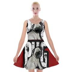 Pug Velvet Skater Dress by Valentinaart
