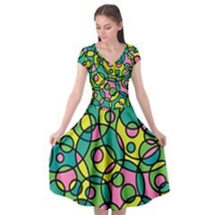 Circle Background Background Texture Cap Sleeve Wrap Front Dress by Nexatart