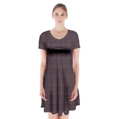 Pattern Background Star Short Sleeve V Neck Flare Dress by Nexatart