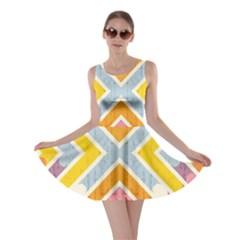 Line Pattern Cross Print Repeat Skater Dress by Nexatart