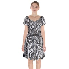 Pattern Motif Decor Short Sleeve Bardot Dress