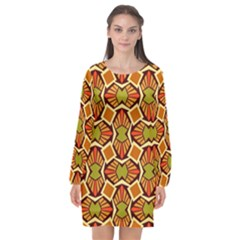 Geometry Shape Retro Trendy Symbol Long Sleeve Chiffon Shift Dress  by Nexatart