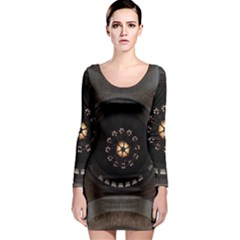 Pattern Design Symmetry Up Ceiling Long Sleeve Bodycon Dress