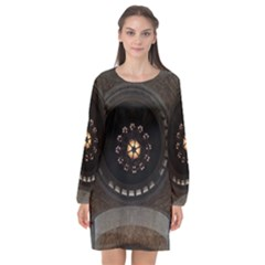 Pattern Design Symmetry Up Ceiling Long Sleeve Chiffon Shift Dress  by Nexatart
