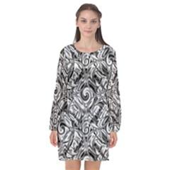 Gray Scale Pattern Tile Design Long Sleeve Chiffon Shift Dress  by Nexatart