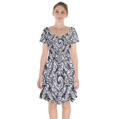 Gray Scale Pattern Tile Design Short Sleeve Bardot Dress by Nexatart