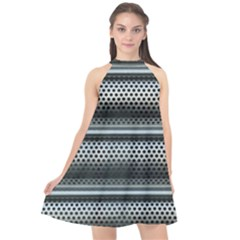 Sheet Holes Roller Shutter Halter Neckline Chiffon Dress  by Nexatart