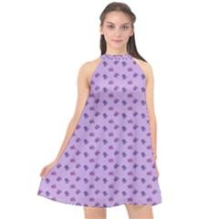 Pattern Background Violet Flowers Halter Neckline Chiffon Dress