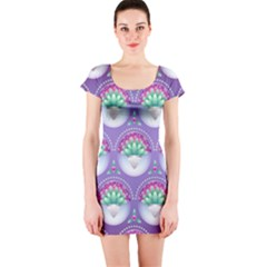 Background Floral Pattern Purple Short Sleeve Bodycon Dress by Nexatart