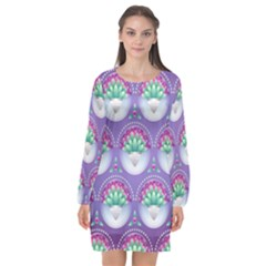 Background Floral Pattern Purple Long Sleeve Chiffon Shift Dress  by Nexatart